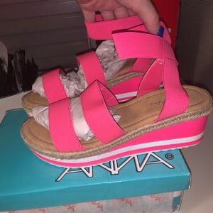 NEW hot pink platform sandals 8.5